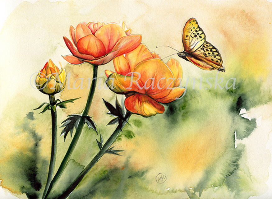Watercolor Flowers And A Butterfly Original Painting 10x14